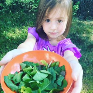 """Annora made me a """"leaf"""" salad from the leaves on the tress...if only she ate the salads I make her! Humph!"""